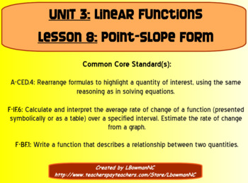 Point Slope Form (Math 1)