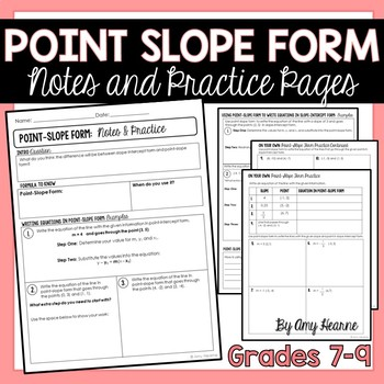 Point Slope Form Notes and Preview