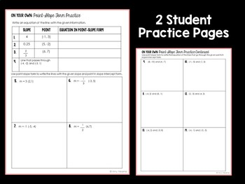 Writing Equations in Point Slope Form Guided Notes and Practice
