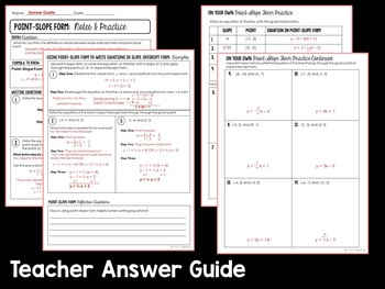 point slope form guided notes  Writing Equations in Point Slope Form Guided Notes and Practice