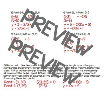 Point-Slope Form Packet