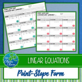 Point-Slope Form Scavenger Hunt Worksheets