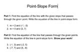 Point-Slope Form Worksheet