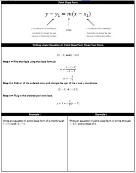 Point Slope Form - Writing Linear Equations Guided Notes and HW