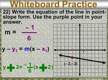 (Alg 1) Writing Equations in Point-Slope Form in a PowerPoint Presentation