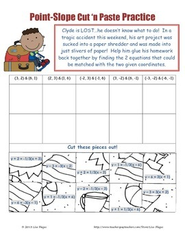 Point-Slope Fun Puzzle Engaging Activity (cut and paste)