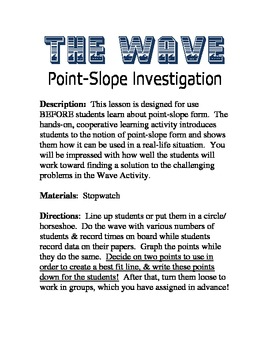 Point-Slope Investigation Activity Algebra For All Graphing Linear Equations