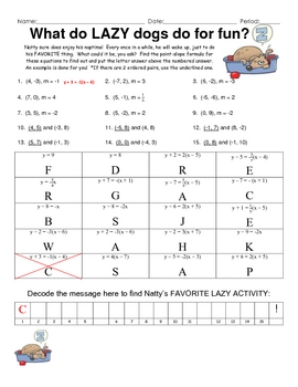... Point-Slope Practice Fun Engaging Puzzle Activity