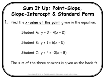 slope intercept form slope and point  Point-Slope, Slope-Intercept & Standard Form Sum It Up Activity