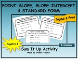 Point-Slope, Slope-Intercept & Standard Form Sum It Up Activity