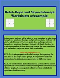 Point-Slope and Slope-Intercept Worksheets w/ examples
