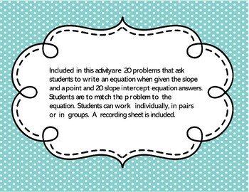 Point and Slope Task Cards