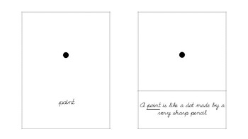 Point, line, plane & solid Geometry nomenclature cards in d'nealian cursive font