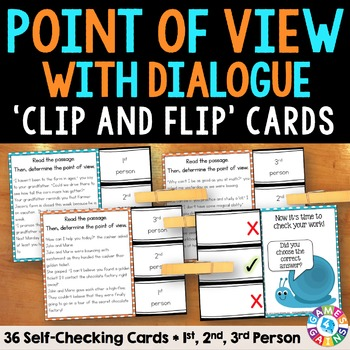 Point of View with Dialogue Task Cards: Point of View Activity