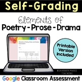 Self-Grading Poetry, Prose, and Drama Assessment: Digital & Printable