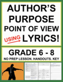 Point of View & Author's Purpose with Lyrics Music as Poetry No Prep Lesson