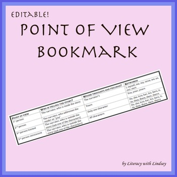 Point of View Bookmark - Editable