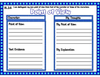 Point of View Character Graphic Organizer