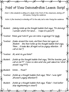 Point of View Demonstration Lesson: Students write their own paragraphs