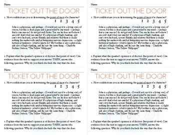 Point of View Exit Card *CCSS Aligned *RL.6-10.6