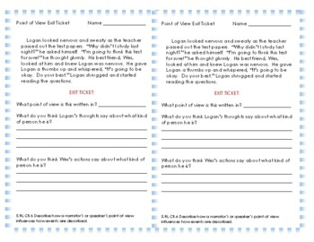 Point of View Exit Ticket