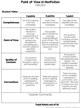 Point of View - Free Cut and Paste Activity and Short Reading Comprehension
