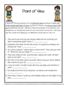 point of view handout and worksheets by stephanie rye forever in fifth grade. Black Bedroom Furniture Sets. Home Design Ideas