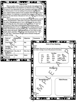 Point of View Literacy and Writing Activities NO PREP