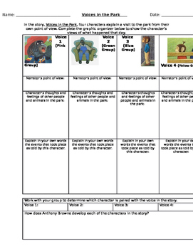 "Point of View Graphic Organizers with ""Voices in the Park"""