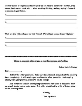 Point of View Letter Writing-American Revolution (any SS unit can be used)
