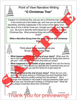 "Point of View Narrative Writing Prompt ""O Christmas Tree"""