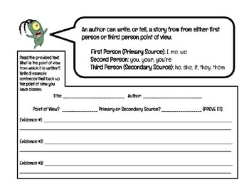 Point of View (POV) Graphic Organizer; Text Analysis (Primary/Secondary Sources)
