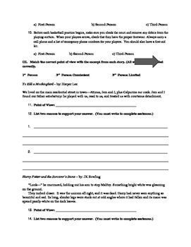 Point of View Packet - study guide, worksheet, and quiz