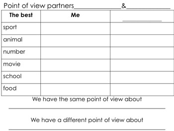 Point of View; Partner Writing Activity