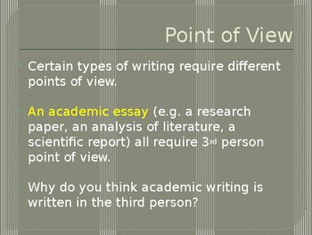 Point of View Powerpoint - Mini Lesson with writing exercises