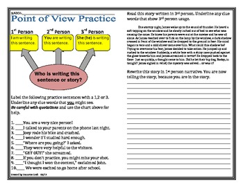 Point of View Practice Challenge-Late Elem/Early Middle