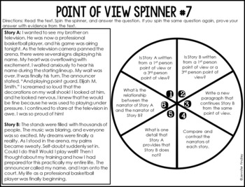 Point of View Reading Centers | 4th and 5th Grade Reading Spinner Centers