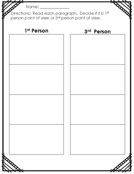 Point of View Sort (1st and 3rd Person)