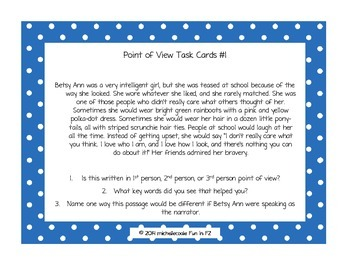 Point of View Task Cards