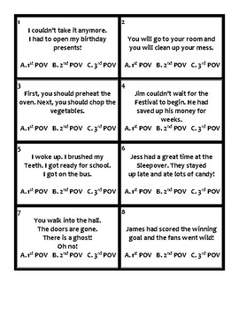 Point of View Task Cards (2nd, 3rd, and 4th Grades)
