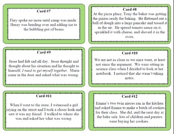 Point of View Task Cards Activity (1st and 3rd Person)