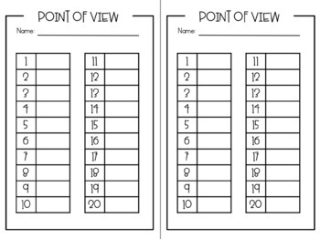 Point of View Task Cards [First Person & Third Person]