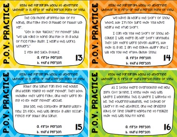 Point of View Task Cards for Grades 3-6: 20 Story Cards and 2 Notebook Pages