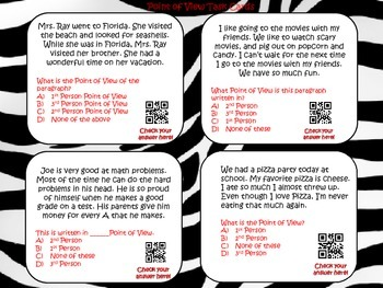 Point of View Task Cards with QR codes