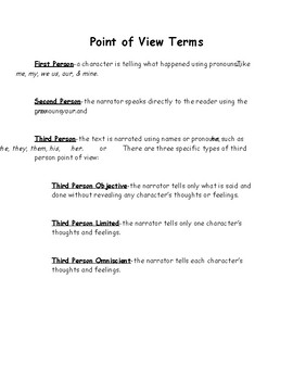Point of View Terms and Practice Page