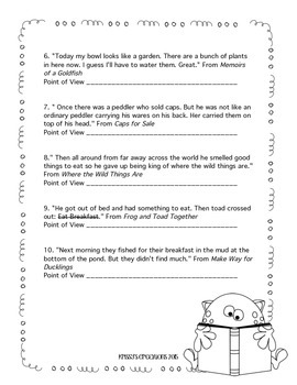 Point of View Test 3rd Grade