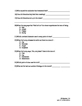 Point of View, Tone, Dialogue Worksheet for Hoodwinked