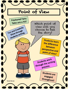 Point of View:Use Fractured Fairy Tales. Students create new versions.