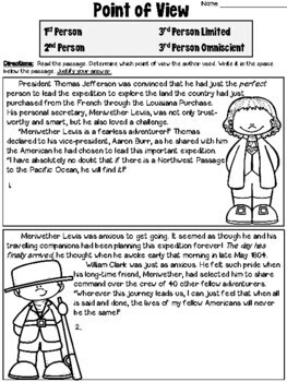 Point of View Worksheets: Careers & Lewis and Clark passages by ...