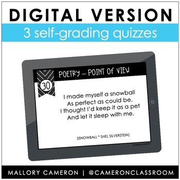 Point of View in Poetry Task Cards